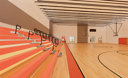 An architectural rendering of the gym inside the planned new recreation center in Newport, N.H. It is expected voters will be asked in May for an appropriation to build a new center. (Courtesy Bread Loaf Corporation)