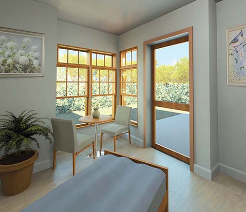 THIS IMAGE SHOWS the suggested interior of one of the new Addison Respite Care Home (ARCH) rooms that are part of a planned $850,000 renovation project at Helen Porter Healthcare & Rehabilitation Center. The project, which will include major upgrades to the center's rehab facilities, is slated to get under way next February. Image courtesy of Porter Medical Center