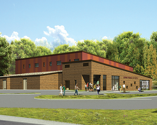 A view of what the Long Trail School Field House will look like from the outside after its completion in 2019